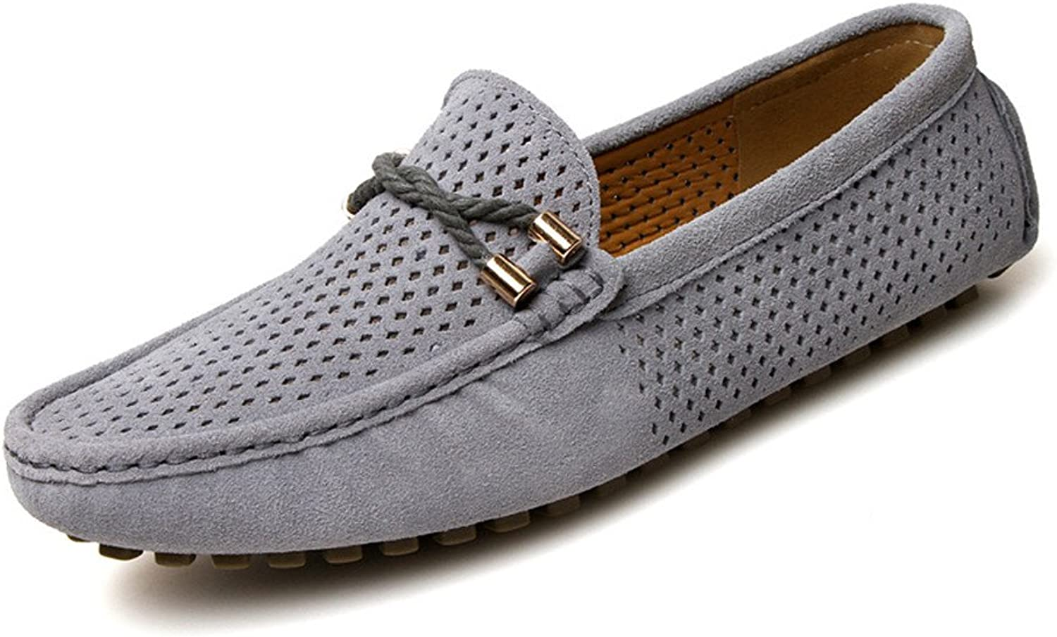 Elegdy Men's Driving Loafers Breathable Perforation Genuine Leather Vamp Penny Moccasins Dress shoes Men's Leather shoes