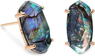 Betty Rose Gold Stud Earrings In Abalone Shell