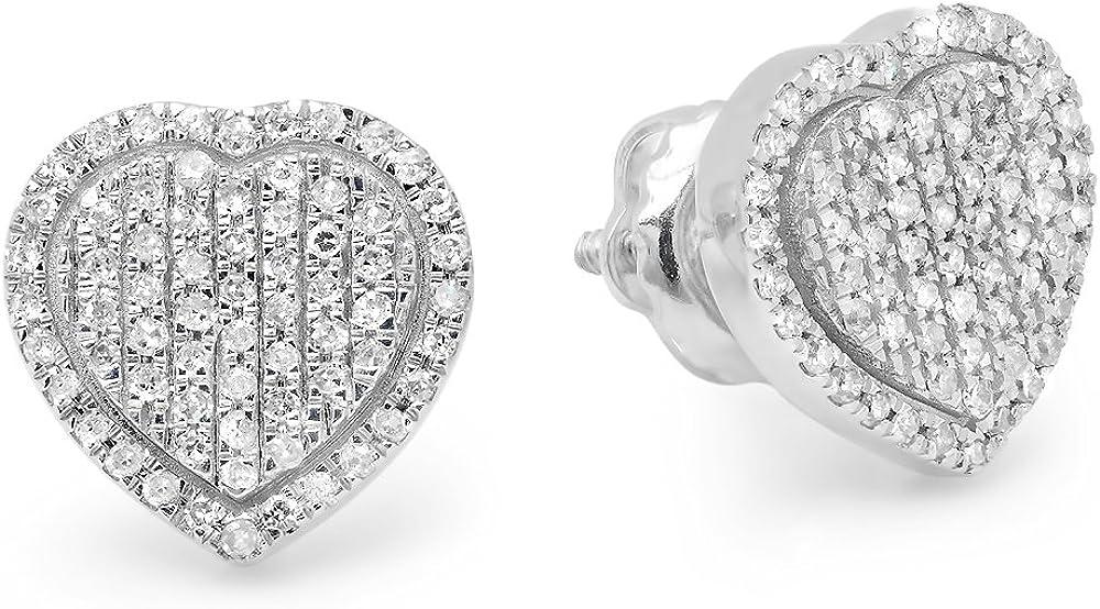 Dazzlingrock Collection 0.35 Carat (ctw) 14K Round White Diamond Ladies Heart Shape Fashion Stud Earrings 1/3 CT, White Gold