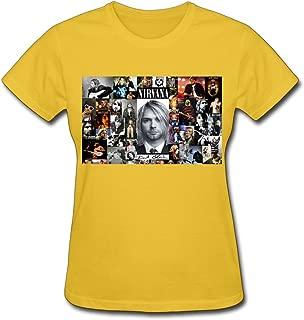 LR Women's Nirvana Kurt Cobain Music Story Cotton T-Shirt Pink