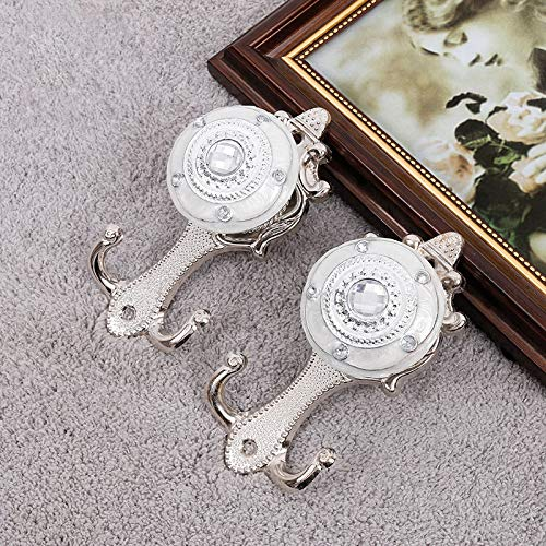 JSANSUI Classroom decoration Vintage Crystal Double Barb Curtain Decorative Wall Hook(2 PCS) (Color : Silver)