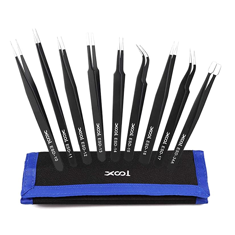 XOOL ESD Tweezers Tools Kit, Precision Anti-static Set of Tweezers, Non-magnetic and Multi-standard Stainless Steel Tweezers with Storage Bag for Lab, Electronics, Jewelry and Detailed Work