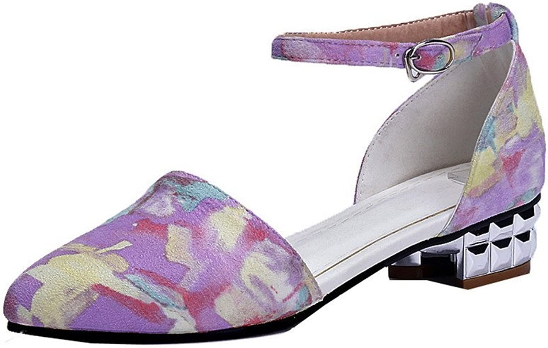 WeenFashion Women's Low-Heels Buckle Assorted color Sandals