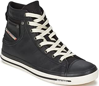 Exposure I Black White Leather Mens New Hi Trainers Shoes...