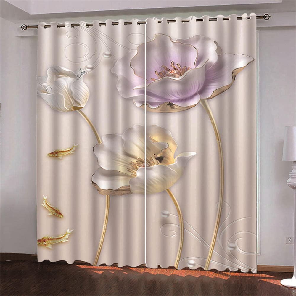 3D Blackout Curtains Warm sold out Eyelet Flowers Reduce Curtain online shop