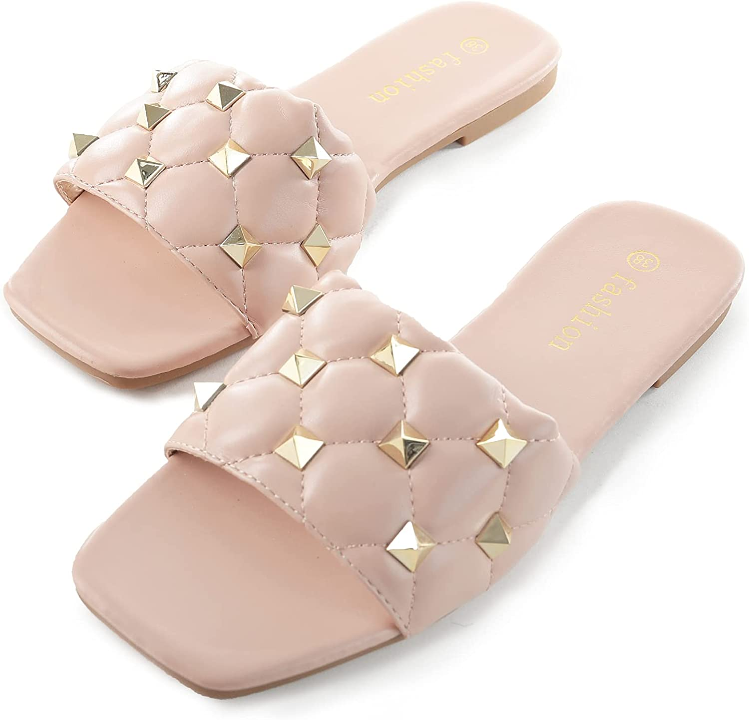 TANOSII Faux Leather Slippers Flat Slides Open Toe Sandals For Women