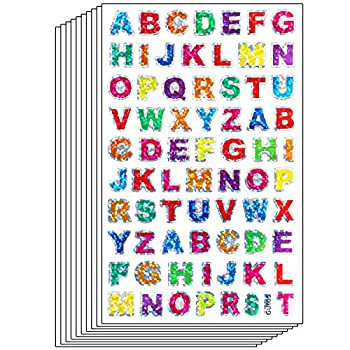 Ruisita 60 Sheets Glitter Letter Stickers Self-Adhesive Alphabet Stickers for Scrapbooking or Embellishment  Color 1