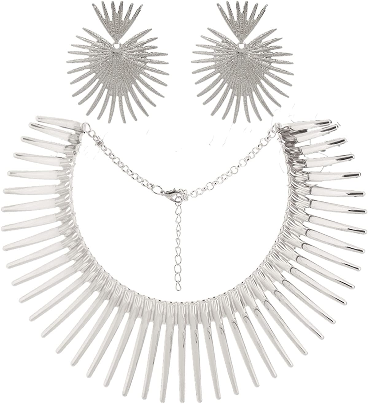 Aowaxbin African Style Collar Choker Earring Set Tribal Necklace Jewelry for women