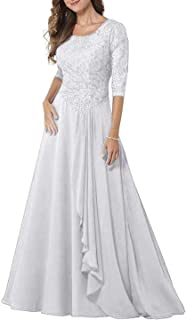 PearlBridal Modest Lace Half Sleeves Mother of Bride Dresses Chiffon Ruffles Long Formal Evening Gown