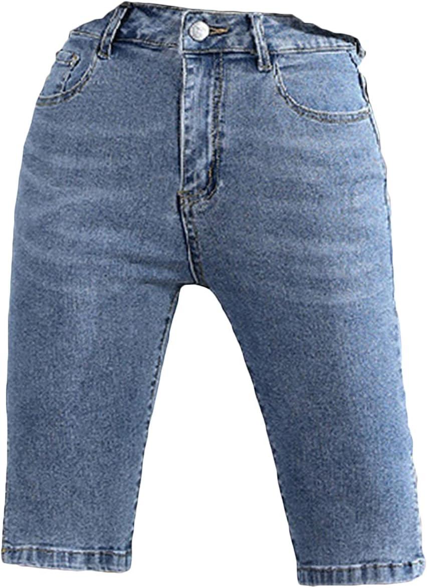 Women's Tight Denim Shorts Slits Mid Wash Waist Di Bermuda Short Dealing full price reduction Super intense SALE
