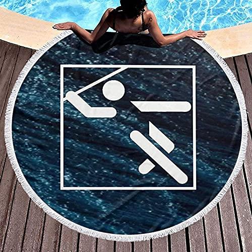 Speerwurf Piktogramm Runde Mikrofaser Stranddecken Übergroß mit Fransen Quaste Meditation Teppich Kreis Wandteppich Wanddekoration Yoga Matte Handtuch 59 Zoll
