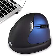 ev. Wireless Ergo Vertical Mouse, Rechargeable Laser Ergo Gaming Mice with 2500 DPI Adjustable for Laptops and PC, 7 Colors Breathing Light, 6 Buttons, Large Version, Right Hand