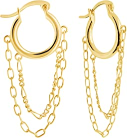 Sterling Silver Hollow Hoops Earrings with Chain Dangles