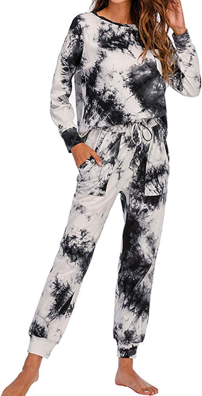 New Women Tie-Dye Lounge Sets Long Sleeve Bedroom Pjamas Set Casual Loose Sleepwear Nightwear