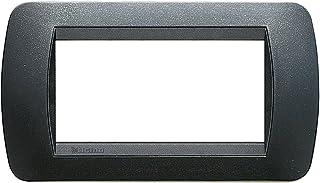 BTicino L4804PA Plate 4Modules Livinglight, Dark Steel, Grey, L4804PA