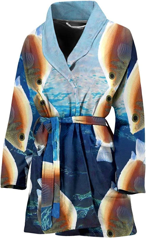 Deruj Kissing Gourami Fish Bird Print Women's Bath Robe