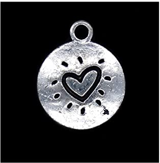 Pack of 80 Flat Heart Pattern Charms Pendants Silver Craft Supplies for Jewelry Making Tibetan Accessories for Bracelets Necklace DIY
