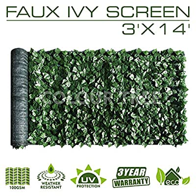 ColourTree 3' x 14' Artificial Hedges Faux Ivy Leaves Fence Privacy Screen Cover Panels ?Decorative Trellis - Mesh Backing - 3 Years Warranty