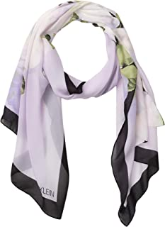 Calvin Klein Women's Placed Floral Poly Chiffon Oblong Scarf, Opal, 1