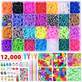 12000+ Rubber Loom Bands Rainbow Rubber Bands, 28 Assorted Colors Mega Refill Kit Colorful Bracelet Making Set for Kids Weaving DIY Crafting, 600 S Clips, 300 Beads, 4 Y Looms, 6 Hooks, Organizer Case