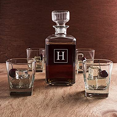 Glass Whiskey Decanter and Glasses / 5-Piece Set / Monogram Initial / Engraved / Decanter 9 x 3.5 / 34-oz / Clear Glass / Housewarming Gift / Groomsman Gift / Bulk Discounts Available