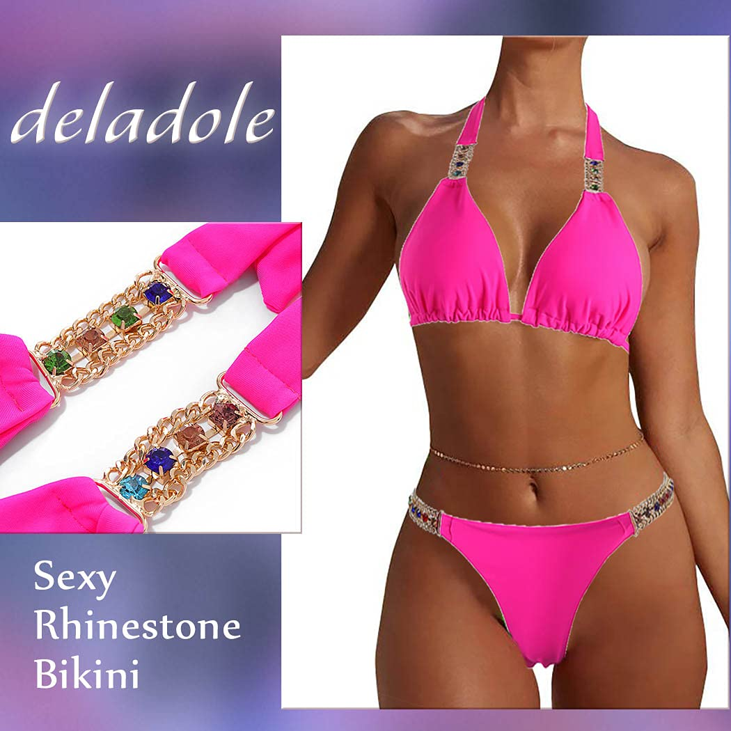 deladola Glitter Crystal Bra Panties Sets Rose Red Rhinestones Bandage Swimsuit Halter Backless Bikini Bra Chains Set Hollow Clubewear Party Body Chain Jewelry Accessories for Women and Girls (M)