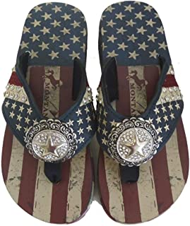 Montana West Flip Flops American Pride Wedge Style Sandal USA Flag Stars Stripes