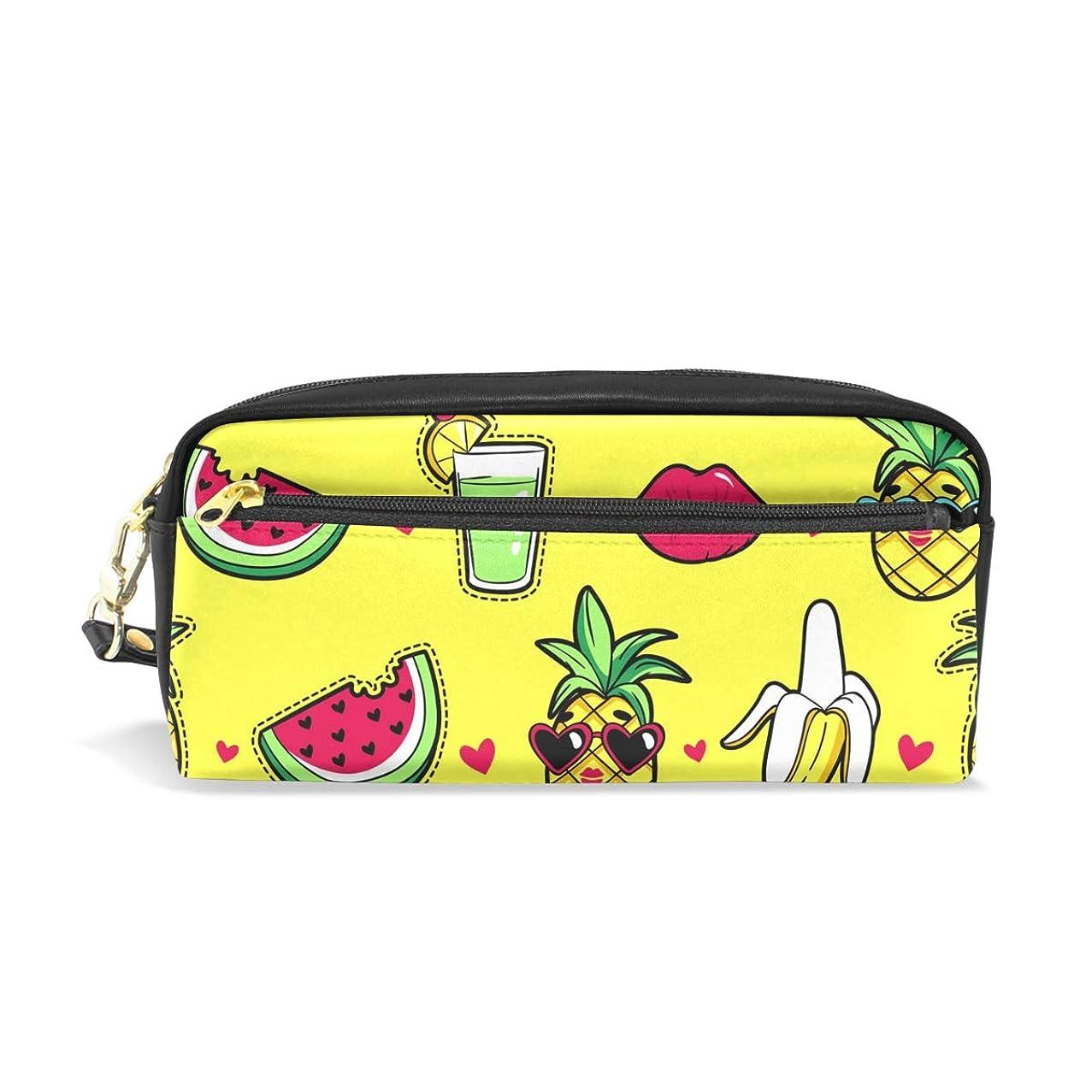 方言受取人簡単にAOMOKI ペンケース 小物入り 多機能バッグ ペンポーチ 化粧ポーチ おしゃれ かわいい 男女兼用 ギフト プレゼント スイカ バナナ パイナップル 果物
