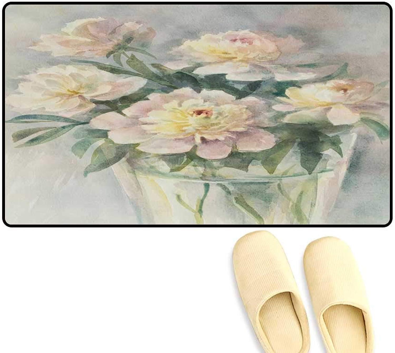 Interior Doormat Bouquet of White Peonies Watercolor