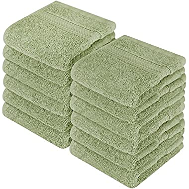 Utopia Towels Premium 700 GSM Washcloths Towel Set(12 Pack Sage Green 12 x 12 Inches) Multi-Purpose Extra Soft Fingertip Towels, Highly Absorbent Face Cloths, Machine Washable Sport and Workout Towel