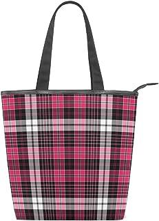 ISAOA Große Einkaufstasche aus Segeltuch, Pink und Schwarz, kariert, Handtasche am Strand, für Mädchen und Frauen