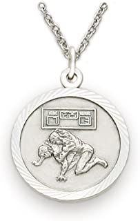 Sterling Silver Wrestling Sports Medal with Christ Cross Back, 3/4 Inch