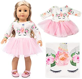 """American Girl Doll Unicorn Clothes Outfit Pajamas 18 Inch Unicorn American Girl Doll Clothes and Accessories for 18"""" American Girls Dolls Clothes , My Life Doll Clothes Baby Journey Girls Accessories"""