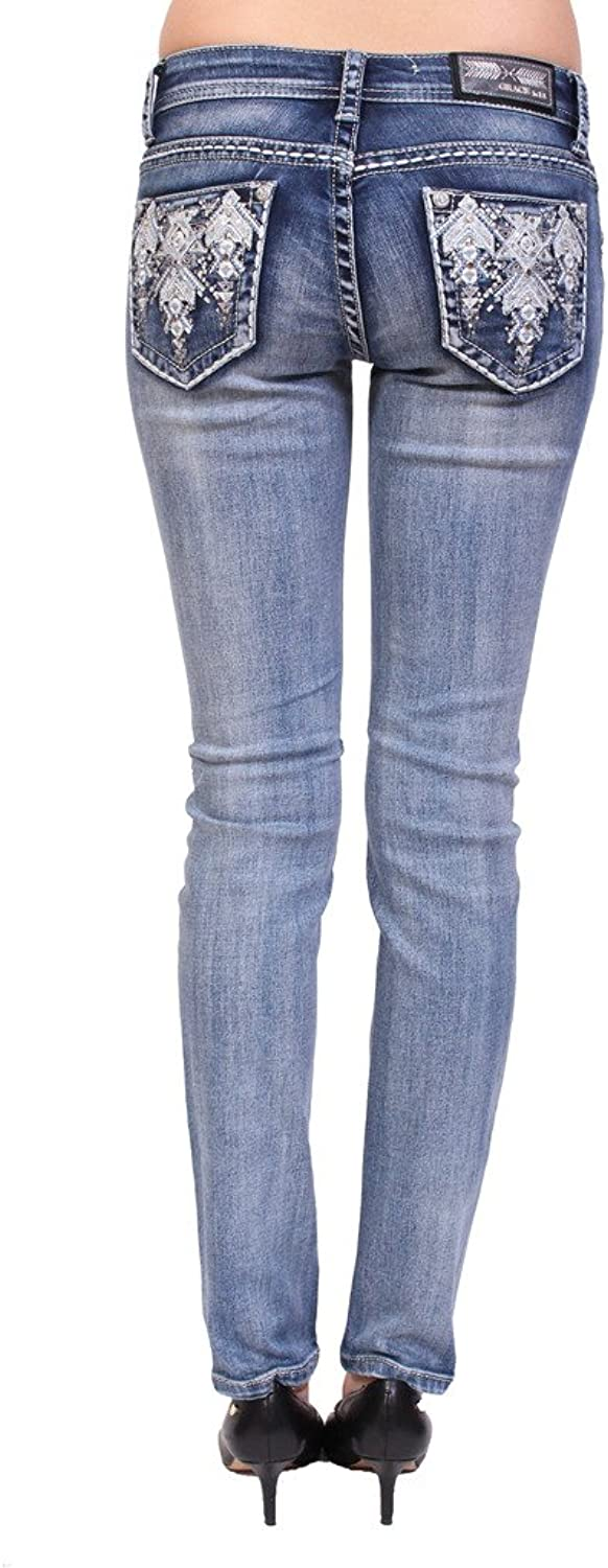Grace in LA Women Faded Skinny Jeans With Aztec Print and Rhinestones