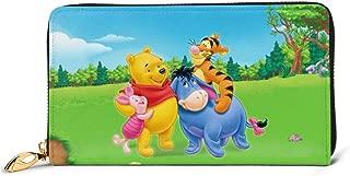 Winnie The Pooh Wallet RFID Blocking Genuine Leather Wallet Zip Around Card Holder Organizer Clutch