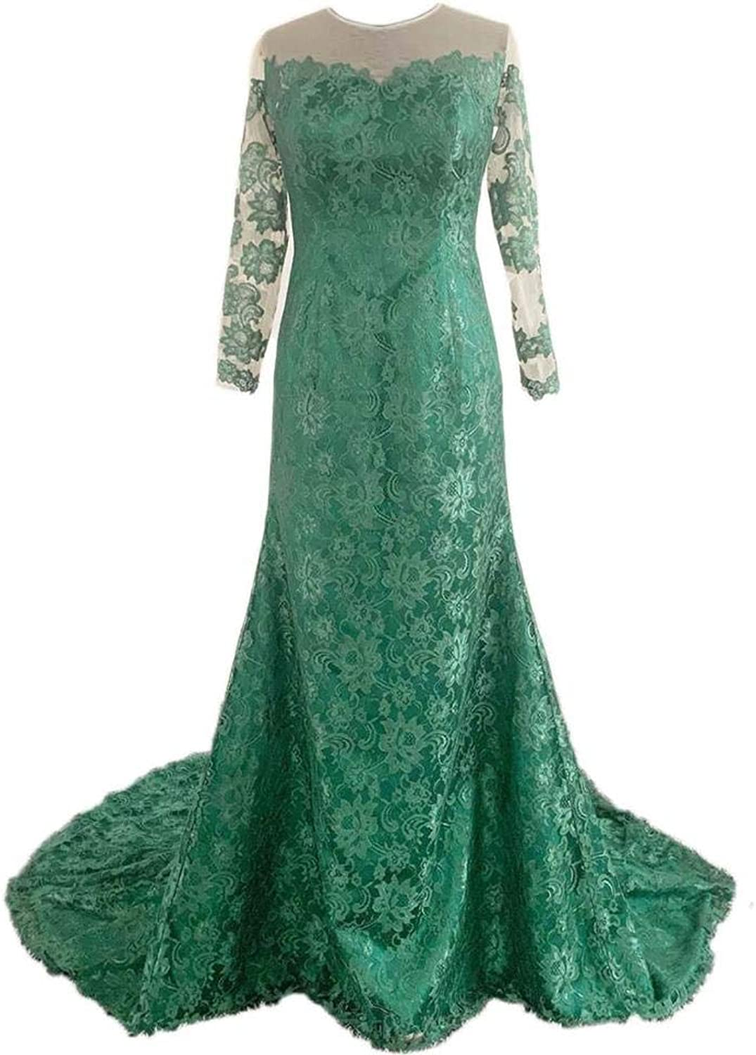 Alexzendra Dark Green Mermaid Lace Evening Dress with Long Sleeves Prom Dress Party