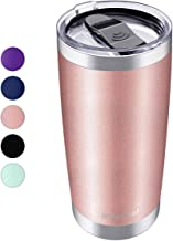 20oz Vacuum Insulated Tumbler, Stainless Steel Double Wall Travel Mug with Splash-Proof Lid by Umite Chef, Stainless Steel Coffee Cup with Straw for Hiking, Camping & Traveling(Rose Gold)