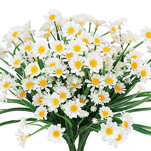 TEMCHY Artificial Daisies Flowers Outdoor UV Resistant 4 Bundles Fake Foliage Greenery Faux Plants Shrubs Plastic Bushes for Window Box Hanging Planter Farmhouse Indoor Outside Decor(White)