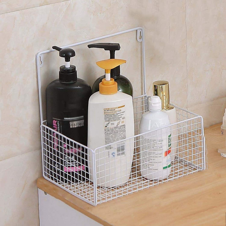Wall shelf- Metal Wall Shelf Nordic Simple Storage Basket Bathroom Bedroom Living Room Floating Shelves 27×20×11.5cm (color   White)