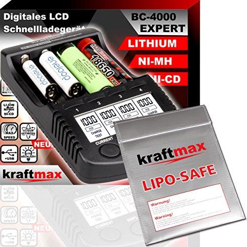 kraftmax Original BC-4000 EXPERT Ladegerät + LIPOSAFE Akku Schutztasche für 18650 Akkus und Lithium Batterien - Set mit Ladestation und Lipo Safe Aufbewahrungstasche