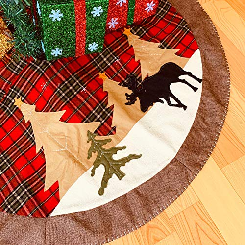 HLOMVE Christmas Tree Skirt, 48 Inches Buffalo Check Trim Sewing with Rustic Truck and Christmas Tree, Xmas Floor Blanket Mat Decoration Ornaments for Home Holiday Party