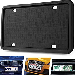 Manelord License Plate Frame - Silicone License Plate Frame Compatible with U.S. Vehicles License Plate, Bendable License Plate Frame - Black