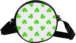 Grüne Kleeblatt-Muster, runde Umhängetasche, Schultertasche, Handtasche, Handtasche, Umhängetasche, Schultertasche für Kin...
