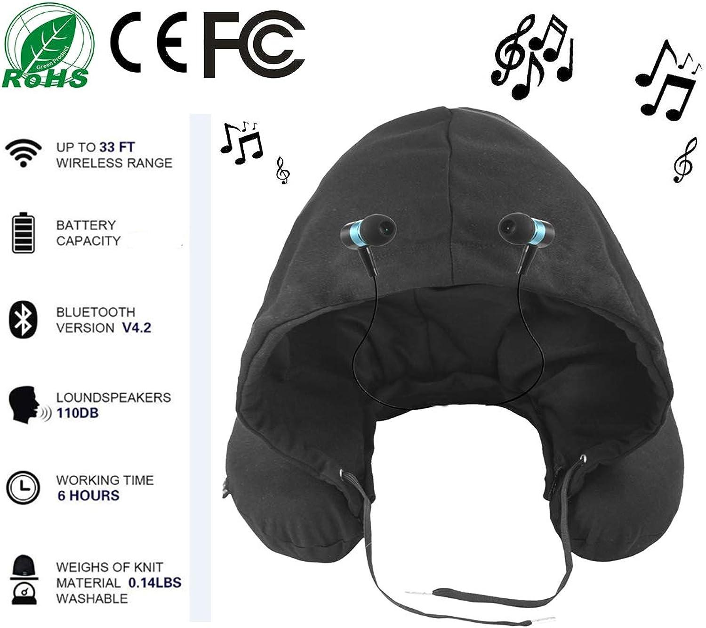 ONEBUYONE KissenAufblasbar Reisekissen Nackenkissen Unisex Blautooth 4.2 U-förmiges Musikkissen mit Hut für Mann und Frau B07LCCRZ3P  Viel Spaß