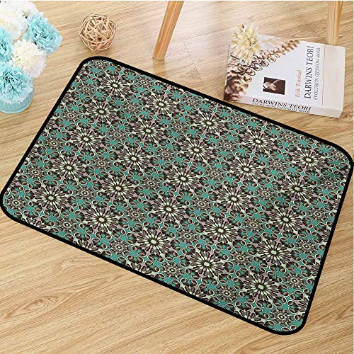 hengshu Retro Inlet Outdoor Door mat Vintage Flowers with Trippy Leafage Swirled Branches Abstract Foliage Forest Idyllic Catch dust Snow and mud W31.5 x L47.2 Inch Multicolor