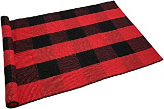 Ukeler Cotton Plaid Rugs Red/Black Hand-Woven Checkered Door Mat Washable Buffalo Check Area Rugs for Kitchen/Bathroom/Entry Way, 24''x51'', Red and Black Plaid Rug