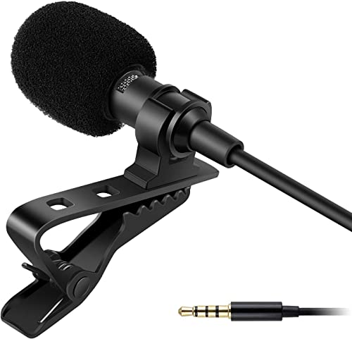 DPE Dynamic Lapel Collar Mic Voice Recording Filter Microphone for Singing Youtube SmartPhones Black