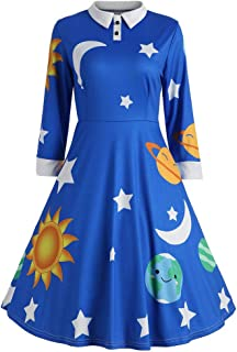 Womens Dresses Ladies Sun Moon Star Print Botton Long Sleeve Flare Vintage Turn-Down Collar Dress