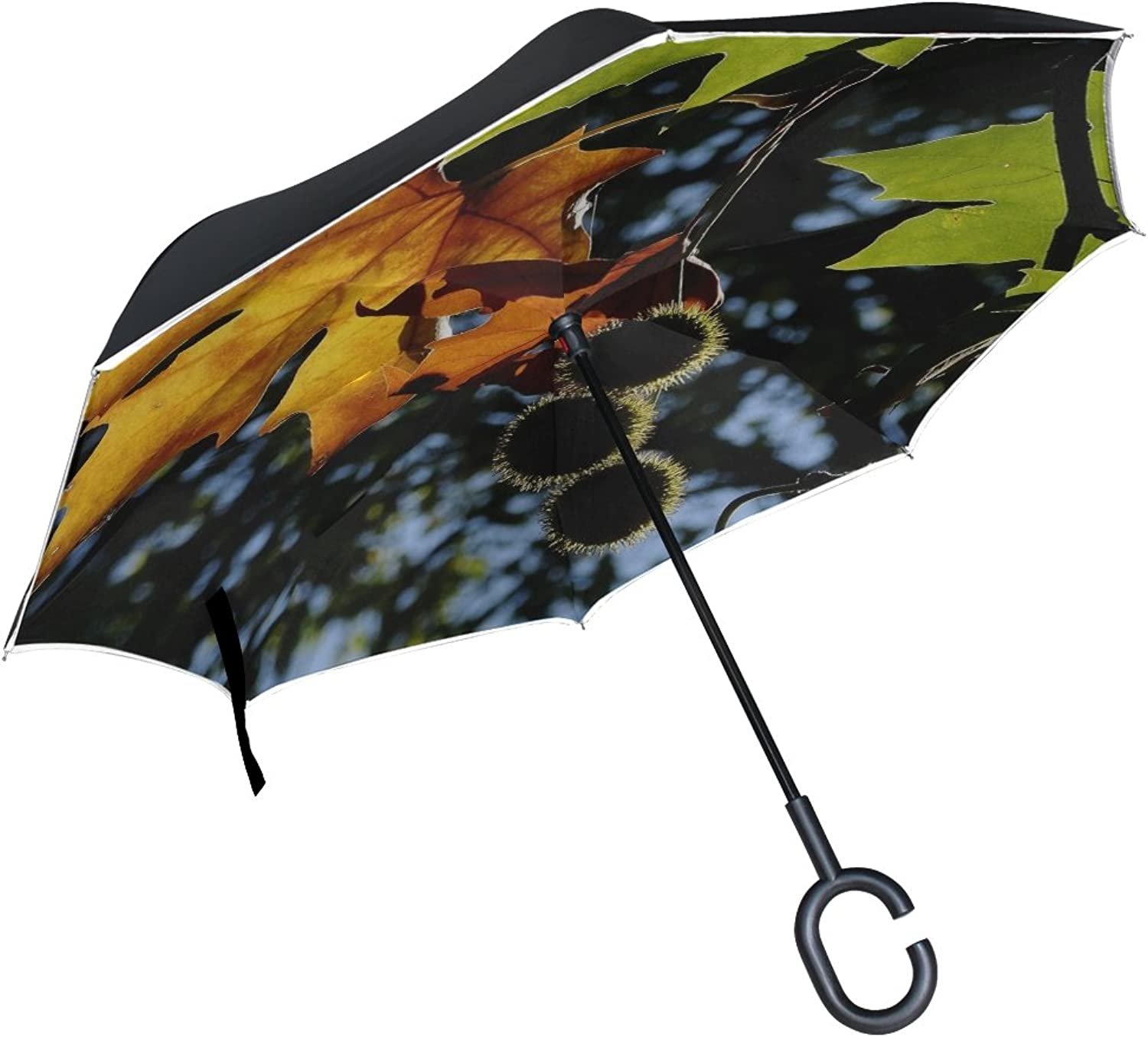 Double Layer Ingreened Leaf Fall Autumn Leaf Autumn Leaves Leaves Nature Umbrellas Reverse Folding Umbrella Windproof Uv Predection Big Straight Umbrella for Car Rain Outdoor with CShaped Handle