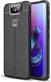 FINON Leather Design Model [ TPU ] for ASUS Zenfone 6 ZS630KL Case - Fingerprint Prevention Function and Lightweight Soft case, Shock Resistance, Easy desorption, Stylish Design - Black